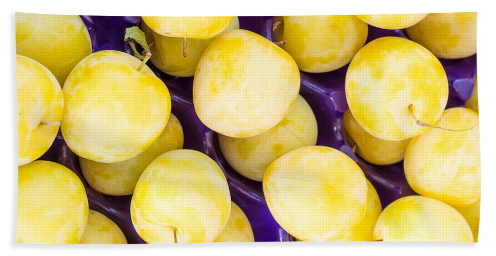 Food Bath Sheet featuring the photograph Yellow Plums by John Trax