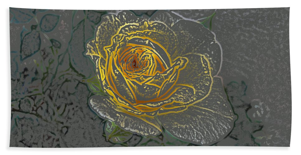 Yellow Hand Towel featuring the digital art Yellow Rose by Lovina Wright