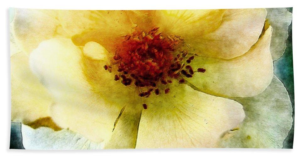 Nature Bath Sheet featuring the digital art Yellow Rose Painted by Debbie Portwood