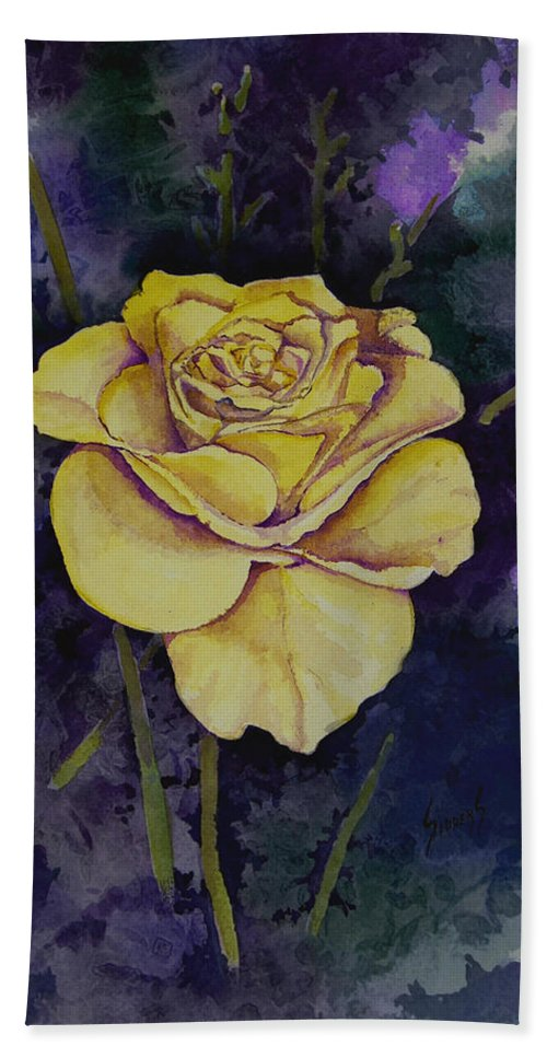 Rose Bath Sheet featuring the painting Yellow Rose by Sam Sidders