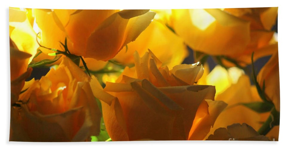 Yellow Roses Hand Towel featuring the photograph Yellow Roses And Light by Carol Groenen