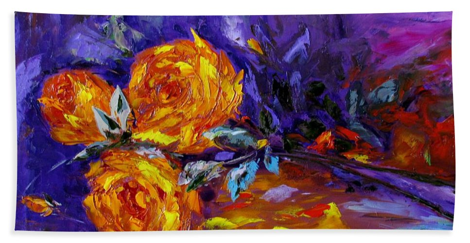 Yellow Roses Nature Still Life The Yellow Violet Fine Art Galina Khlupina Art Phone Case Bath Sheet featuring the painting Yellow Roses by Galina Khlupina