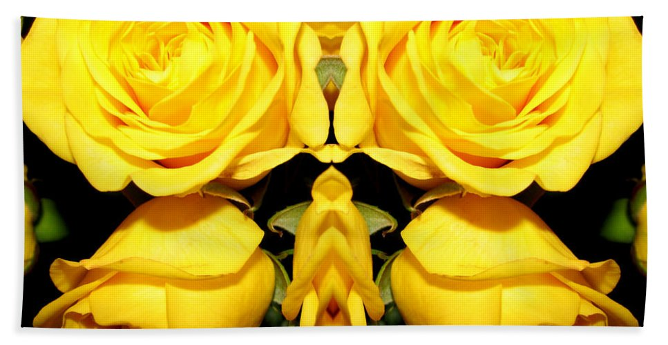 Roses Bath Sheet featuring the photograph Yellow Roses Mirrored Effect by Rose Santuci-Sofranko