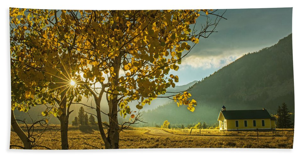 Scenic Bath Sheet featuring the photograph Yellow School House by Bob Keller
