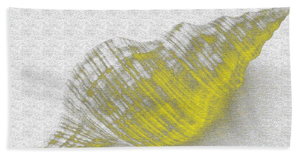 Yellow Bath Towel featuring the digital art Yellow Seashell by Carol Lynch
