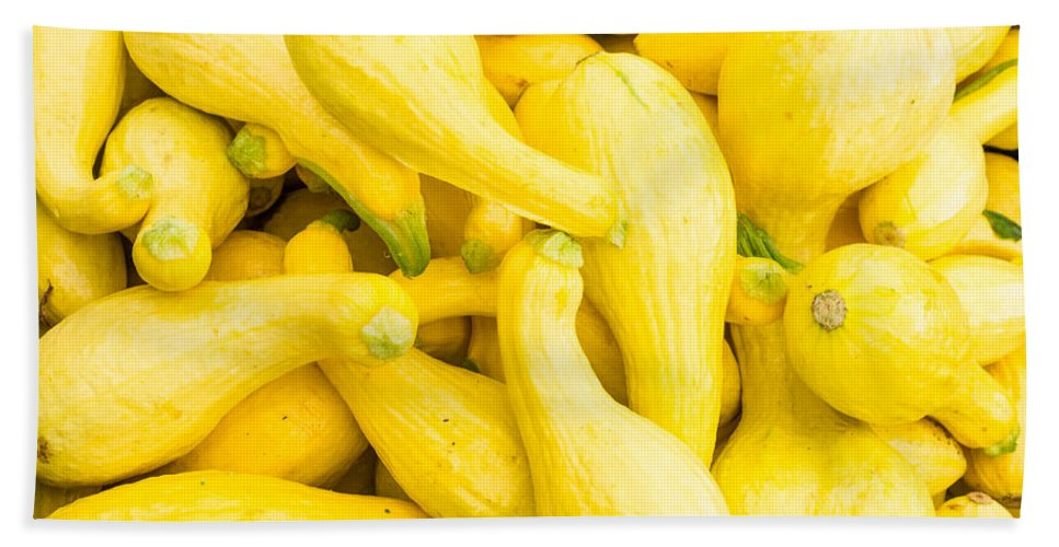 Agriculture Bath Sheet featuring the photograph Yellow Squash At The Market by John Trax