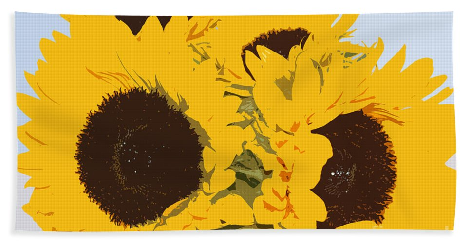 Yellow Hand Towel featuring the digital art Yellow Sunflowers by Carol Lynch
