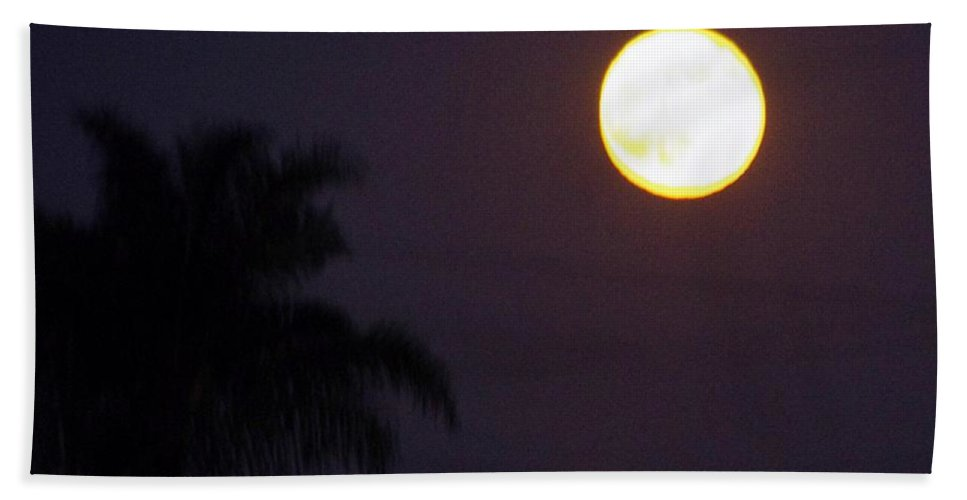 Moon Bath Sheet featuring the photograph Yellow Super Moon by Phyllis Spoor