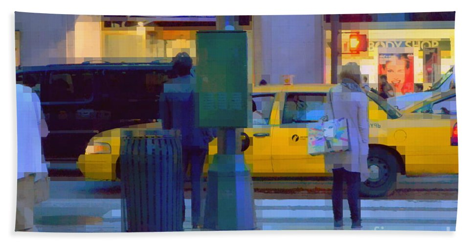 Traffic Bath Sheet featuring the photograph Yellow Taxi by Miriam Danar