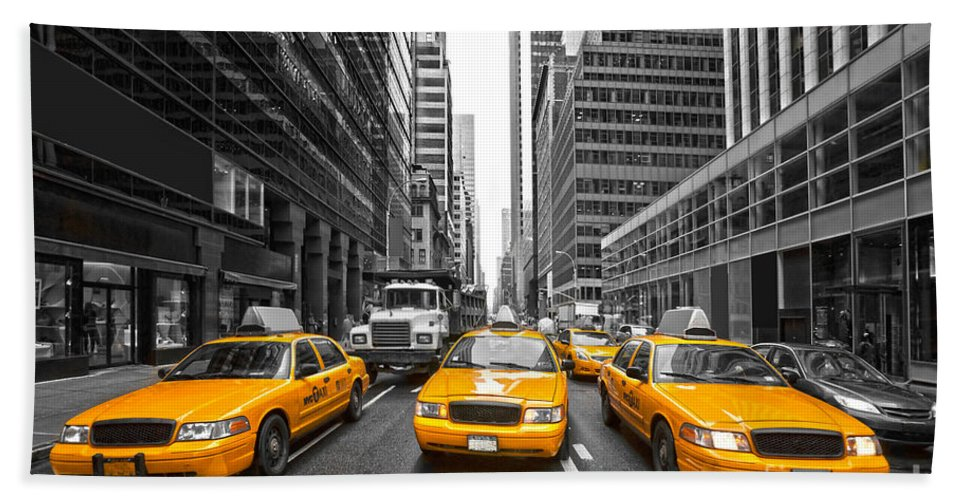 Angle Hand Towel featuring the photograph Yellow Taxis In New York City - Usa by Luciano Mortula