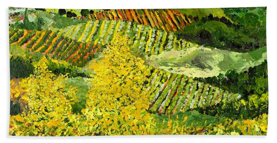 Landscape Bath Sheet featuring the painting Yellow Trees by Allan P Friedlander