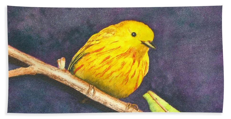 Warbler Bath Towel featuring the painting Yellow Warbler II by Sharon Farber