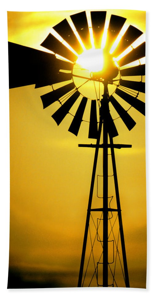 Windmill Hand Towel featuring the photograph Yellow Wind by Jerry McElroy