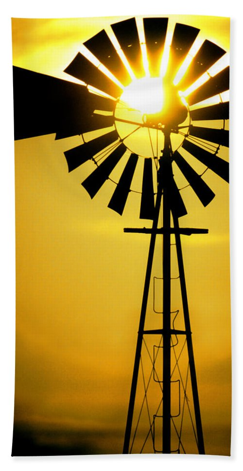 Windmill Bath Sheet featuring the photograph Yellow Wind by Jerry McElroy