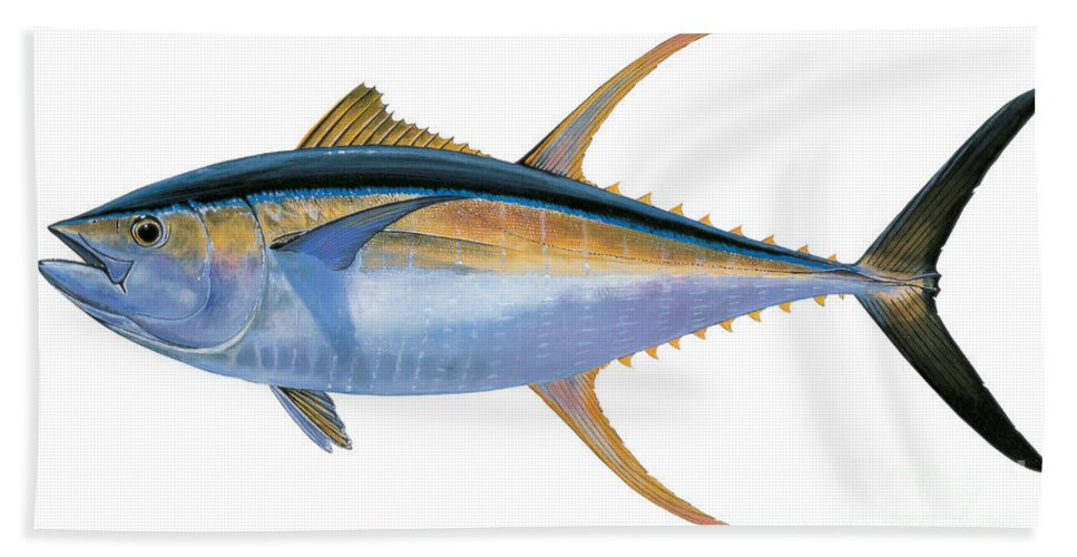 Yellowfin Tuna Bath Sheet featuring the painting Yellowfin Tuna by Carey Chen
