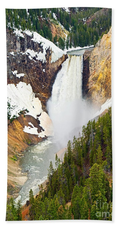 Yellowstone Falls Bath Sheet featuring the photograph Yellowstone Falls In Spring Time by Jamie Pham