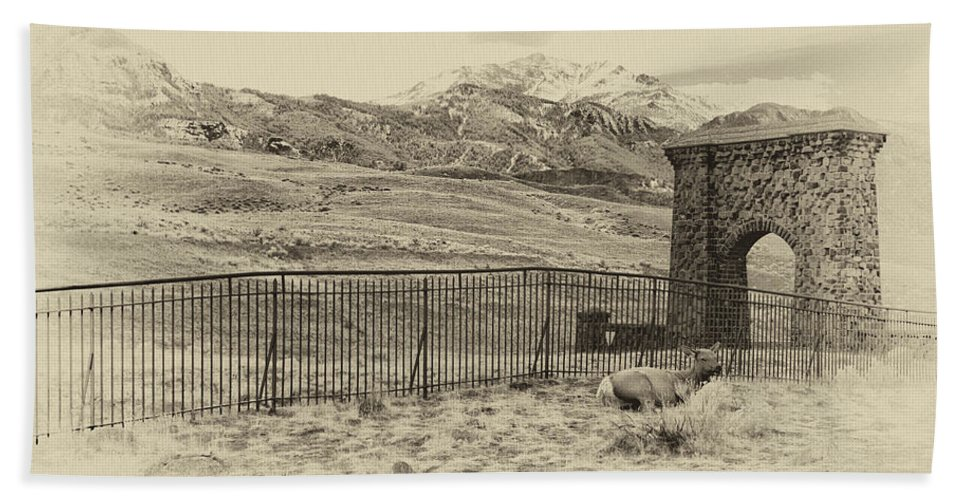 Yellowstone National Park Hand Towel featuring the photograph Yellowstone Grand Entrance by Cindy Archbell