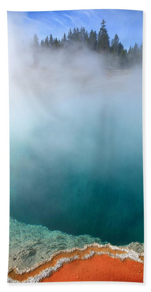 America Bath Sheet featuring the photograph Yellowstone Park Geyser by Frank Romeo