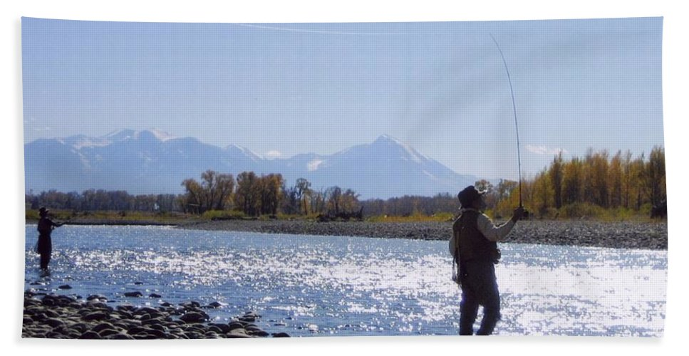 Montana Hand Towel featuring the photograph Yellowstone River Fly Fishing by Jeffrey Akerson