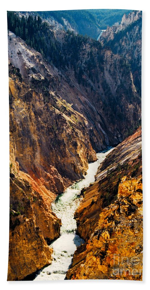 Yellowstone Hand Towel featuring the photograph Yellowstone River by Kathy McClure