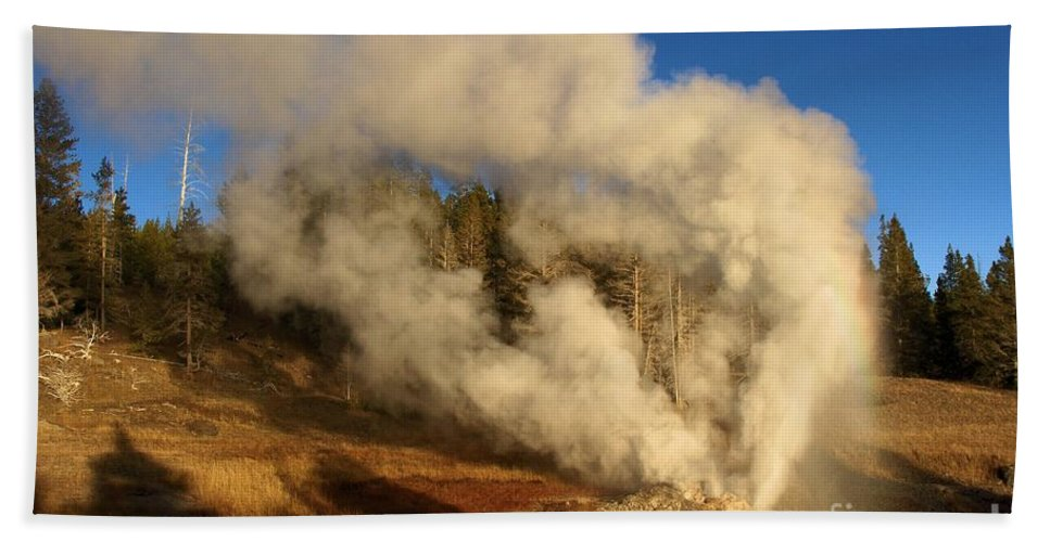 Riverside Geyser Hand Towel featuring the photograph Yellowstone Riverside Eruption by Adam Jewell