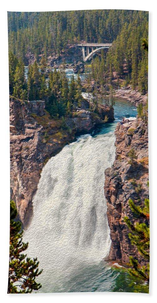 Upper Falls Bath Sheet featuring the photograph Yellowstone Upper Falls by John M Bailey