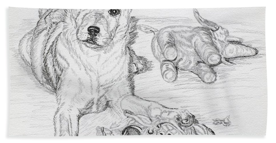 Animal Hand Towel featuring the drawing Yes This Is My Toy by Lana Tyler