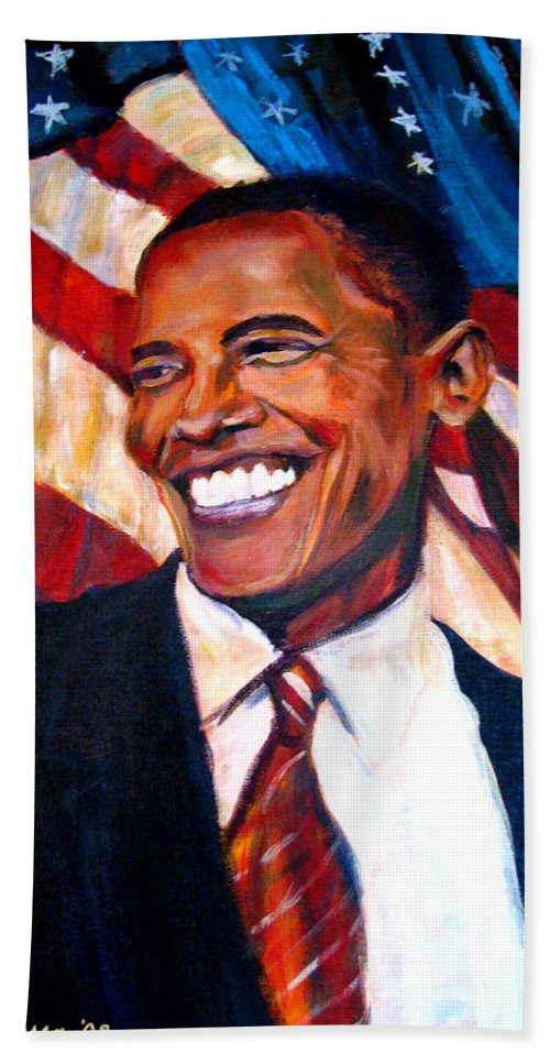 Barack Bath Towel featuring the painting Yes We Can by Art Nomad Sandra Hansen