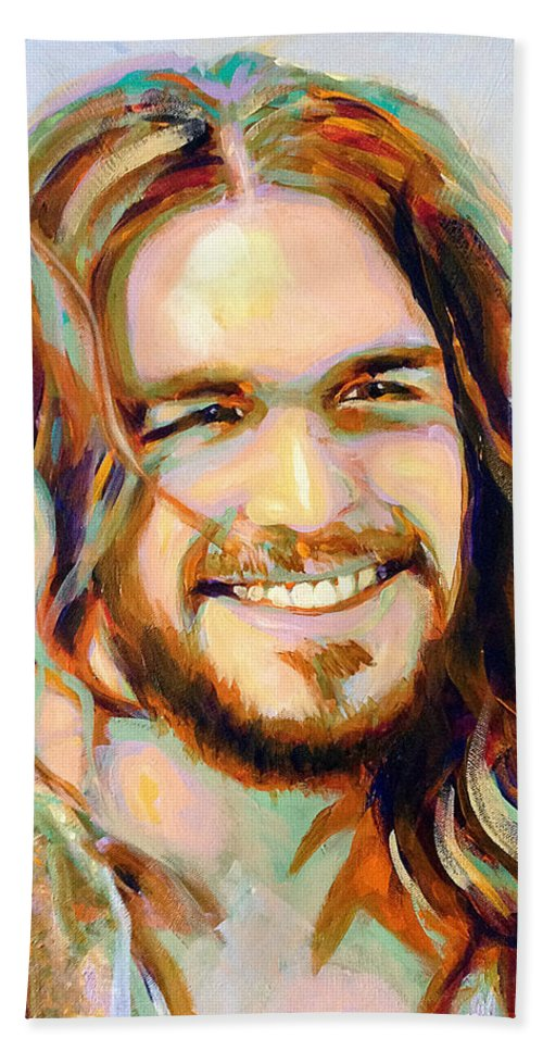 Smiling Jesus Hand Towel featuring the painting Yeshua by Steve Gamba