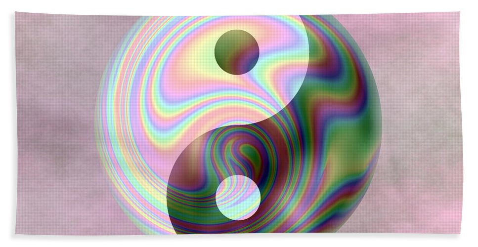 Yin Hand Towel featuring the digital art Yinyang 5 by Ron Hedges