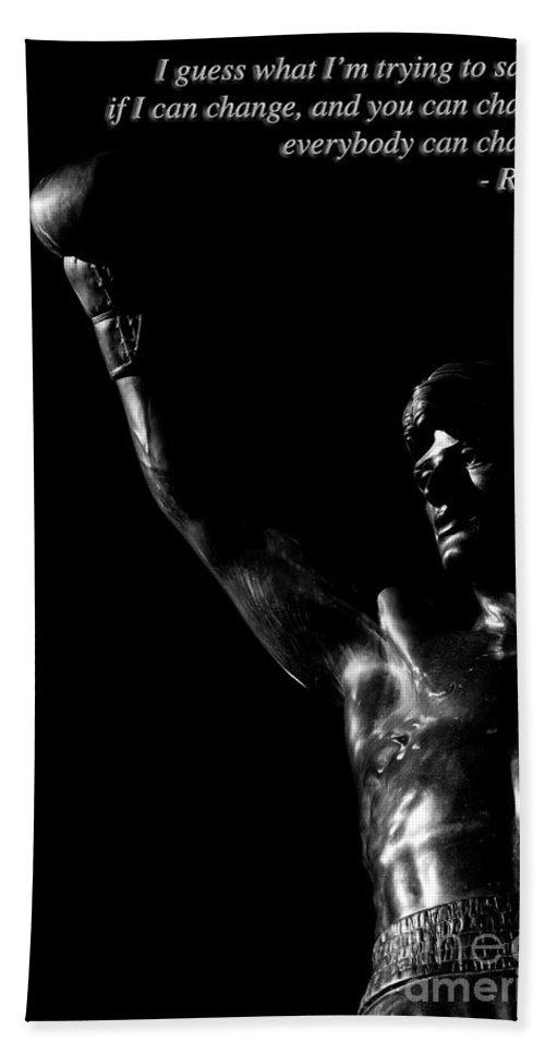 Blckandwhite Hand Towel featuring the photograph Yo Adrian 2 by Nicholas Pappagallo Jr
