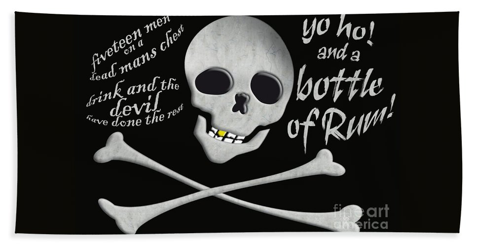 Pirates Hand Towel featuring the painting Yo Ho And A Bottle Of Rum by Neil Finnemore