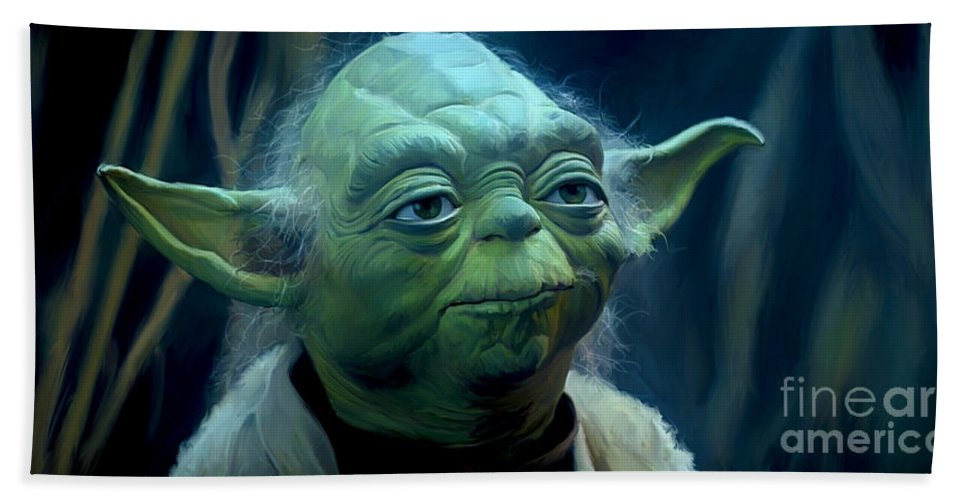 Star Wars Bath Towel featuring the painting Yoda by Paul Tagliamonte