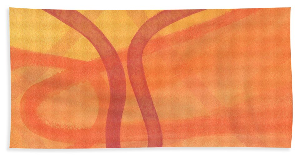 Abstract Hand Towel featuring the painting Yoga by Vanessa Favero