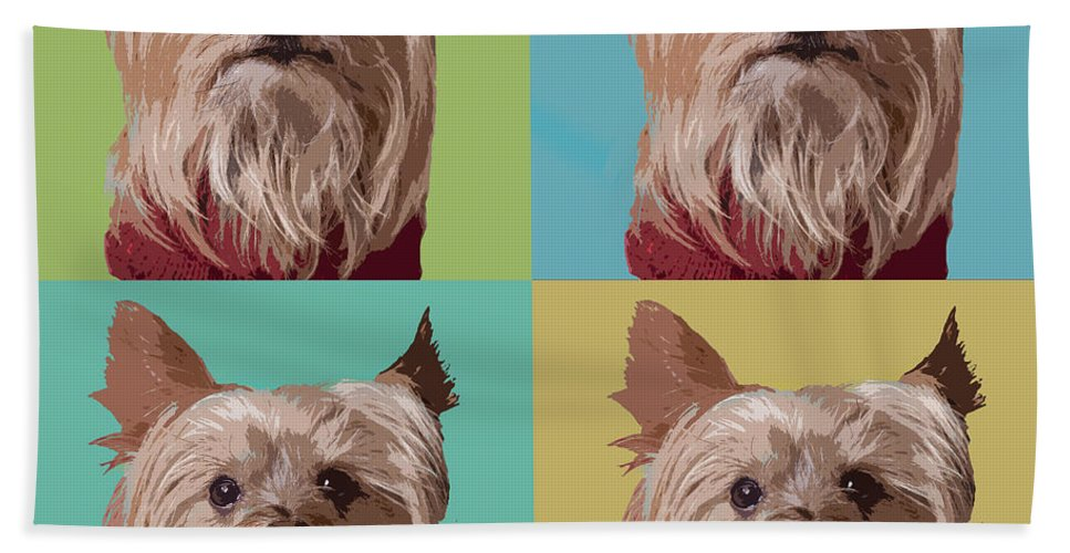 Yorkie Terrier Hand Towel featuring the digital art Yorkie Times Four by Susan Stone