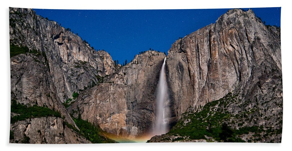 Stars Blue California Nature Landscape Scenic sierra Nevada Mountains Spring Moon national Park Yosemite Night Rainbow Moonbow Water River Waterfall Clear Bath Sheet featuring the photograph Yosemite Falls Moonbow by Cat Connor