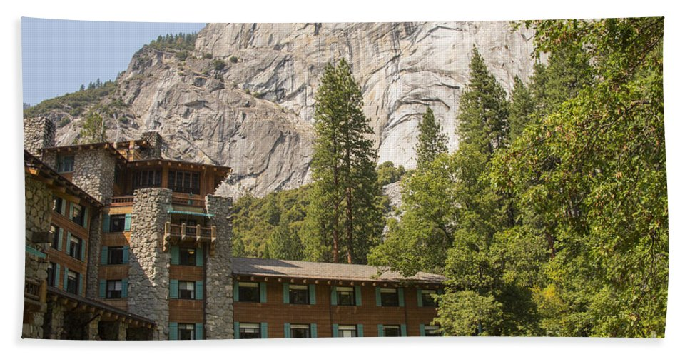 Ahwahnee Hotel Hotels Building Buildings Structure Structures Architecture Yosemite National Park Parks California Mountain Mountains Rock Landscape Landscapes Tree Trees Bath Sheet featuring the photograph Yosemite National Park Lodging by Bob Phillips