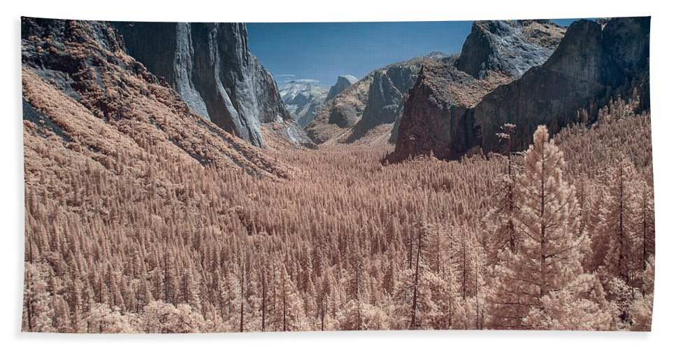 Infrared Bath Sheet featuring the photograph Yosemite Vally In Infrared by Greg Nyquist