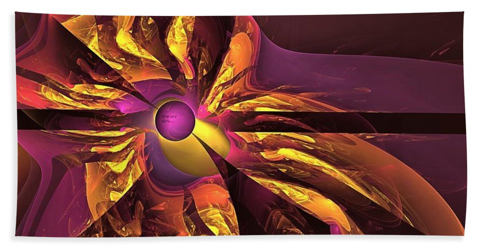 Happy Destiny Bath Sheet featuring the digital art You Are Here -- Events Conspire by Doug Morgan