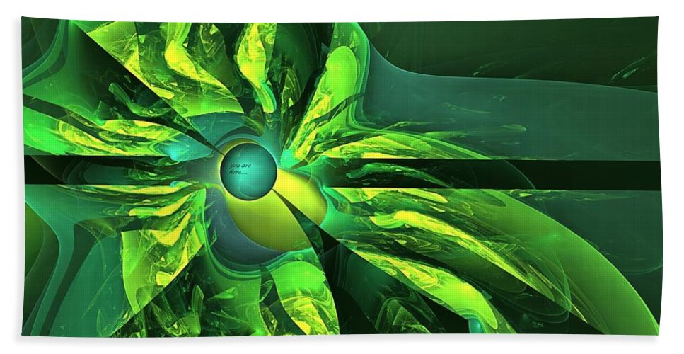 Happy Destiny Bath Sheet featuring the digital art You Are Here -- Events Conspire -- Green by Doug Morgan