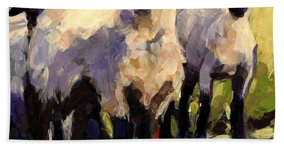 Sheep Hand Towel featuring the painting You First by Molly Poole