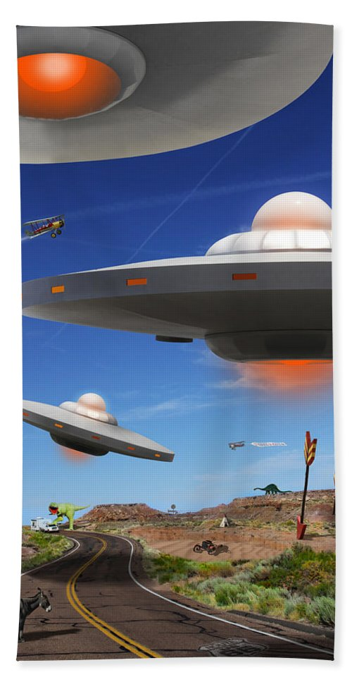Surrealism Bath Sheet featuring the photograph You Never Know What You Will See On Route 66 by Mike McGlothlen