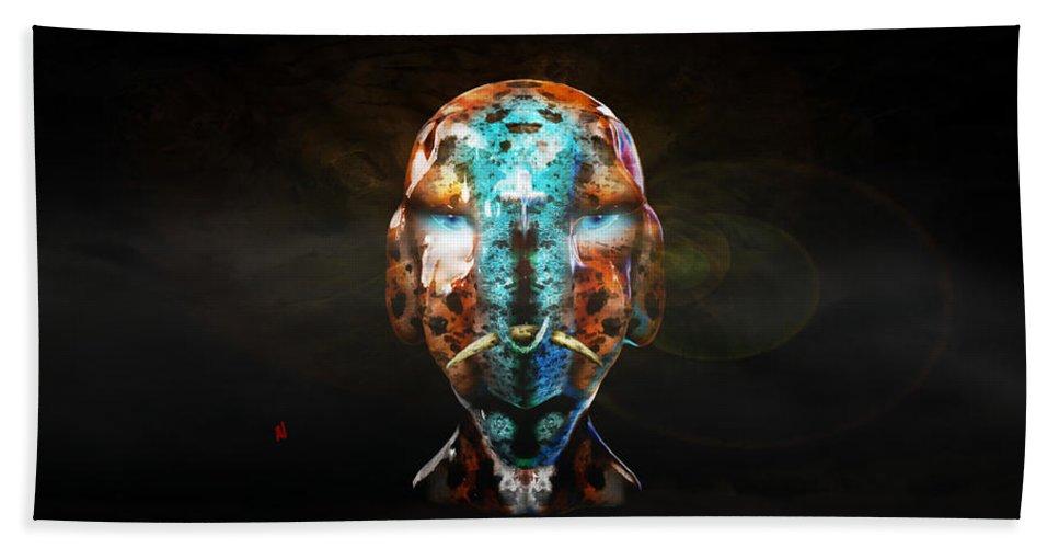 Alien Bath Sheet featuring the digital art Young Alien Warrior by Adam Vance