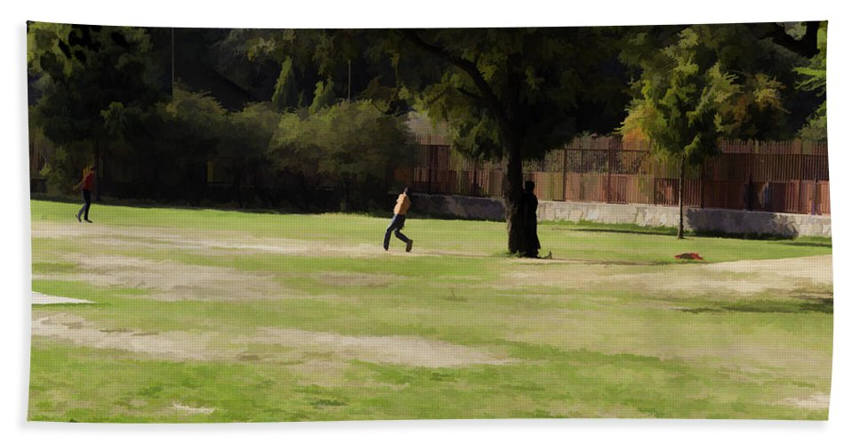 Action Hand Towel featuring the digital art Young Boys Playing Cricket In A Park Near Delhi Zoo by Ashish Agarwal