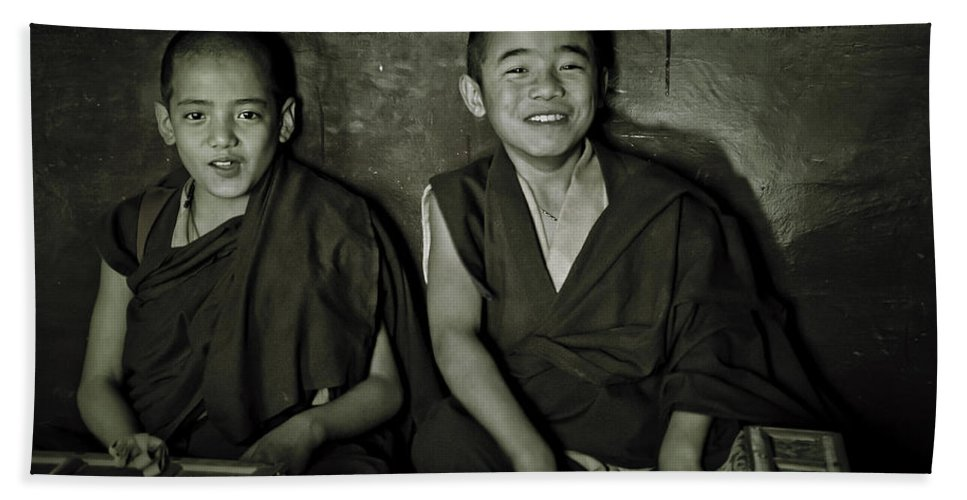 Valerie Rosen Hand Towel featuring the photograph Young Buddhist Monks by Valerie Rosen