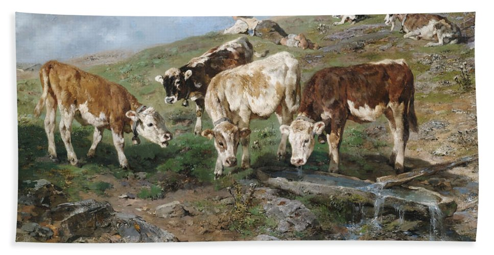 Tyrol Hand Towel featuring the painting Young Cattle In Tyrol by Mountain Dreams