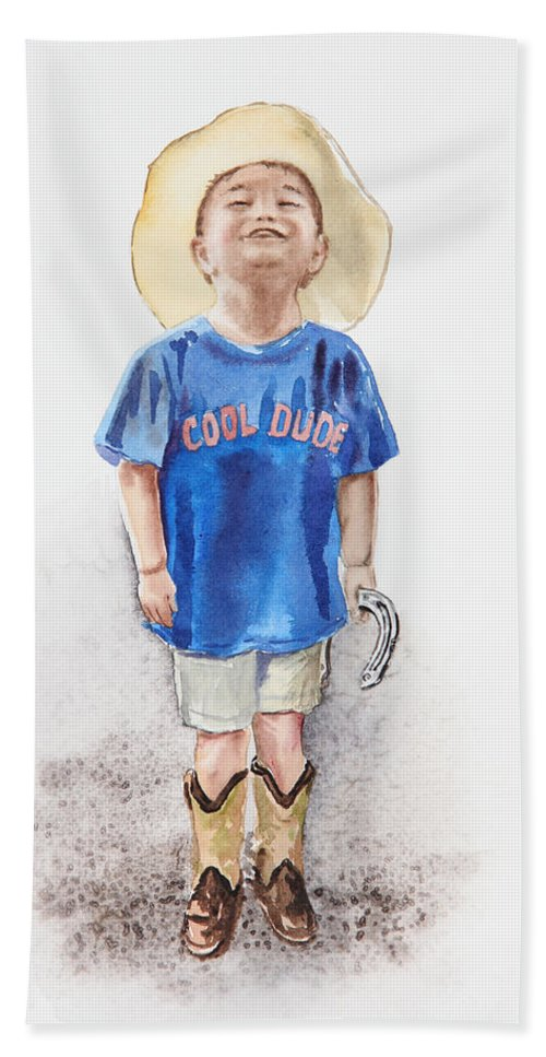 Boy Hand Towel featuring the painting Young Cowboy by Irina Sztukowski