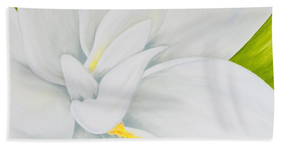 Gardenia Hand Towel featuring the painting Young Gardenia by Mary Deal