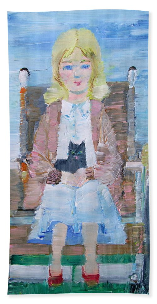 Girl Hand Towel featuring the painting Young Girl-with Cat- On Wheelchair by Fabrizio Cassetta