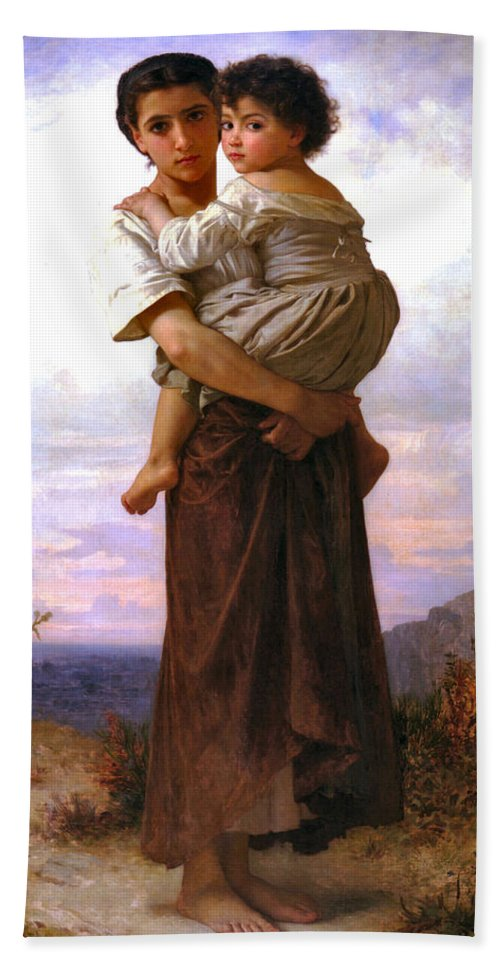 Young Gypsies Hand Towel featuring the digital art Young Gypsies by William Bouguereau